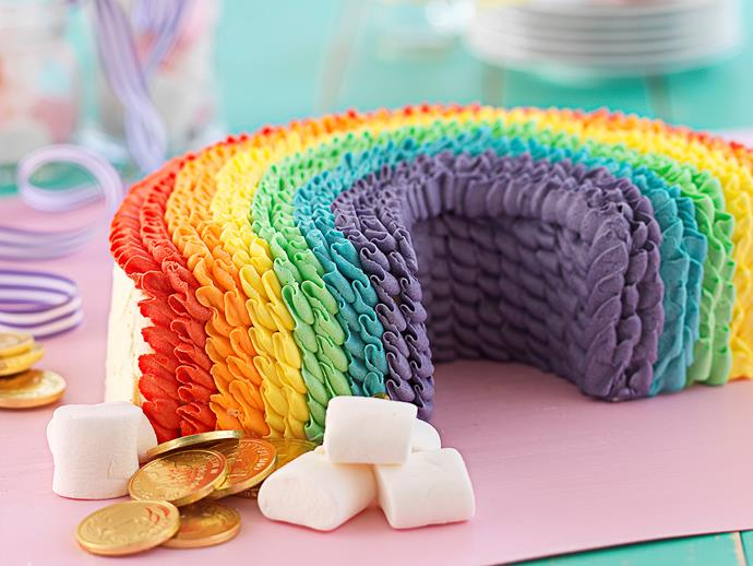 """**[Chocolate rainbow cake](https://www.womensweeklyfood.com.au/recipes/chocolate-rainbow-cake-25805