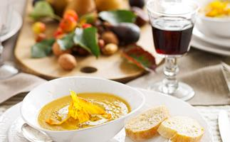 Kumara and ginger spiced soup with kumara chips