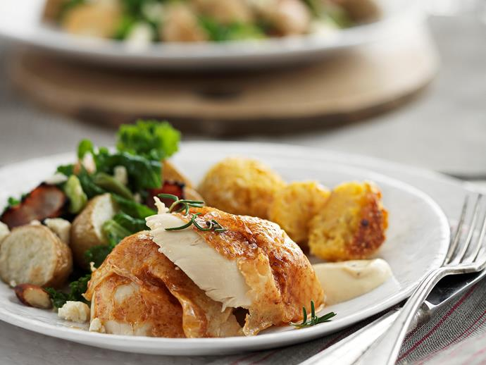 "**[Paprika roast chicken with corn and polenta stuffing](https://www.womensweeklyfood.com.au/recipes/paprika-roast-chicken-with-corn-and-polenta-stuffing-26897|target=""_blank"")**"