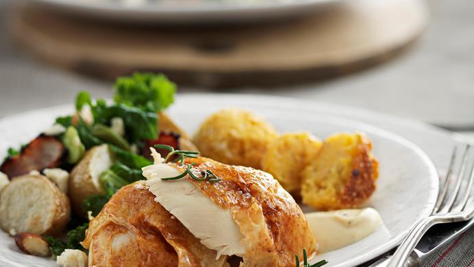 Paprika roast chicken with corn and polenta stuffing