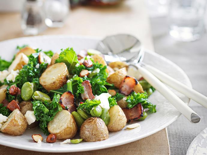 "This [warm potato and broad bean salad with bacon and feta](https://www.womensweeklyfood.com.au/recipes/warm-potato-and-broad-bean-salad-with-bacon-and-feta-26900|target=""_blank"") is warm but wonderfully fresh, combining lovely spring ingredients to create a healthy meal for lunch or dinner."
