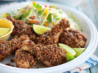 Chicken satay drumsticks with noodle salad