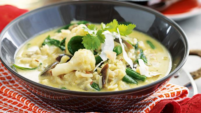 Coconut, lime and ginger vegetable curry