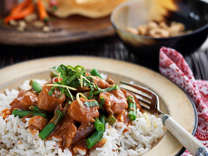 """**[Red curry pork with lemon and basil rice](https://www.womensweeklyfood.com.au/recipes/red-curry-pork-with-lemon-and-basil-rice-26481