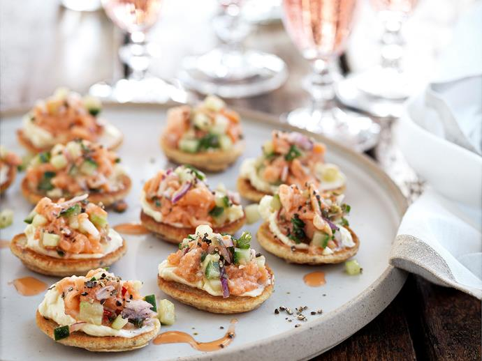 """**[Wholemeal blini and salmon salsa](https://www.womensweeklyfood.com.au/recipes/wholemeal-blini-and-salmon-salsa-26813 target=""""_blank"""")**  Impress your guests with a delectable winter feast."""