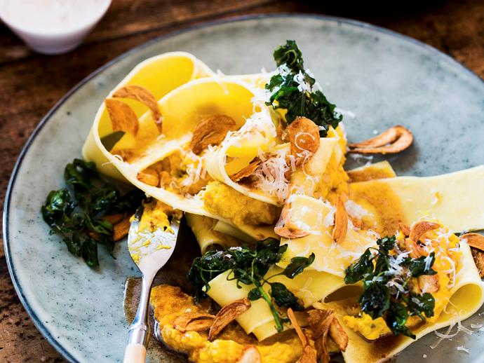 "**[Pumpkin pappardelle with burnt butter sauce and garlic chips](https://www.womensweeklyfood.com.au/recipes/pumpkin-pappardelle-with-burnt-butter-sauce-and-garlic-chips-26803|target=""_blank"")**"