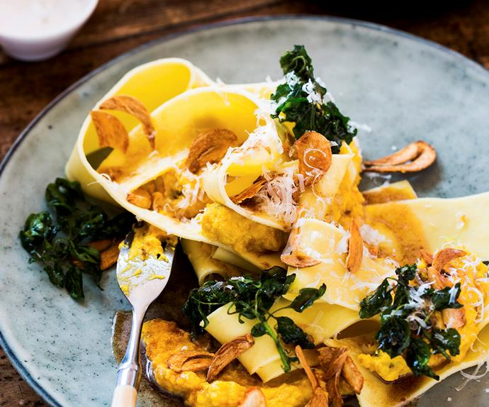 Pumpkin pappardelle with burnt butter sauce and garlic chips