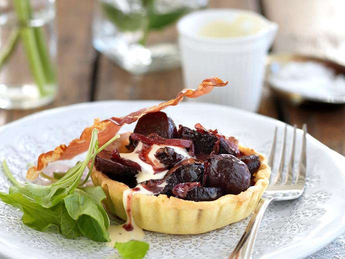 """**[Roasted beetroot and onion tart with creme fraiche](https://www.womensweeklyfood.com.au/recipes/roasted-beetroot-and-onion-tart-with-creme-fraiche-dressing-26818