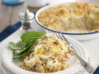 Smoked fish pie with garlic and herb crumbs