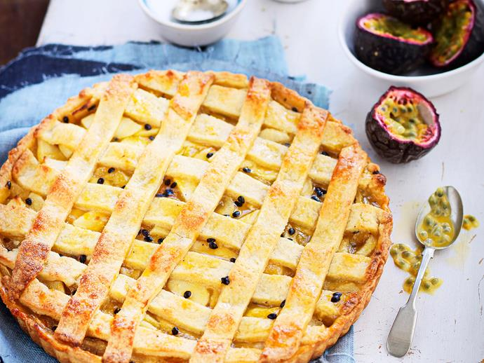 "**[Apple and passionfruit pie](https://www.womensweeklyfood.com.au/recipes/apple-and-passionfruit-pie-26834|target=""_blank"")**"