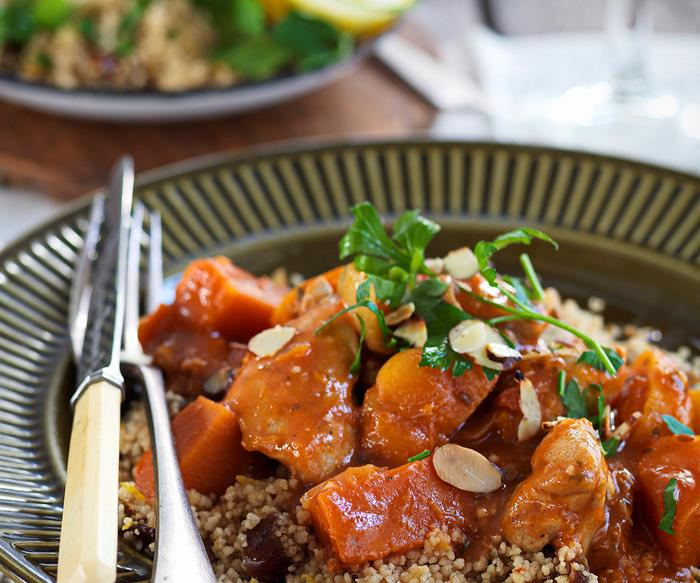 Chicken, pumpkin and apricot tagine