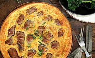 Cheesy sausage and batter bake