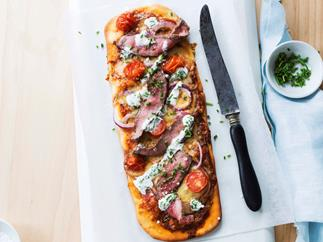 Steak Pizzas with Horseradish Cream