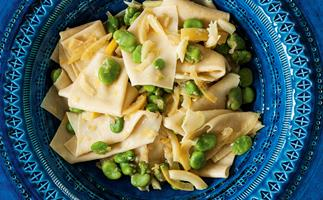 Fresh pasta with broad beans and preserved lemon