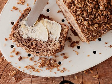 Parsnip and apple loaf with oaty crumble topping