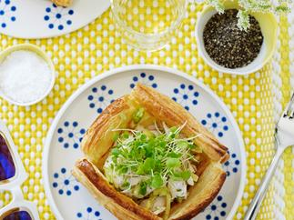 Feta, Smoked Chicken, Preserved Lemon and Green Tomato Tarts
