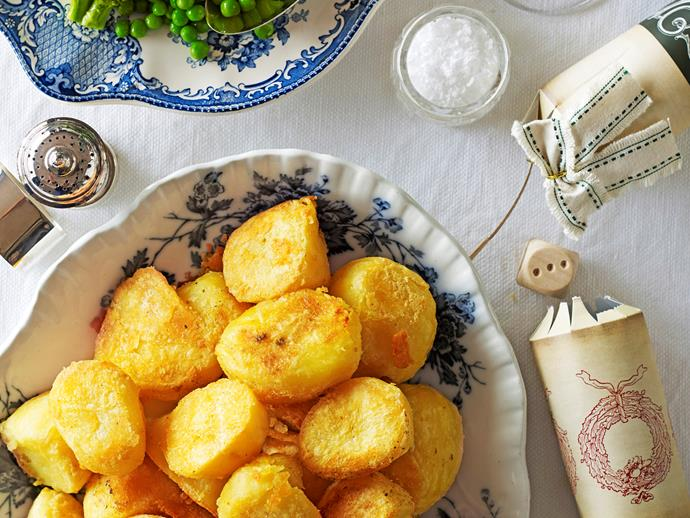 """Cooking your [potatoes in duck fat](https://www.womensweeklyfood.com.au/recipes/crispy-golden-roast-potatoes-24292 target=""""_blank"""") ensures crispy, golden roast potatoes every time. Crunchy on the outside, soft and warm in the middle, this'll make the perfect side dish for your next roast dinner."""