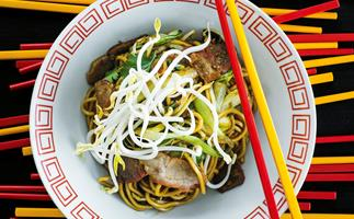 Soy Noodles with Pork, Coriander and Chilli