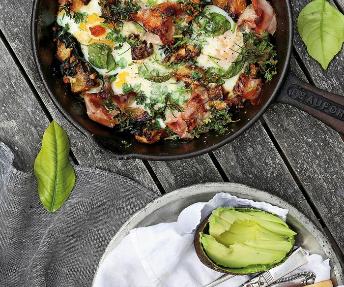 Herbed breakfast hash with swede, pancetta and parmesan