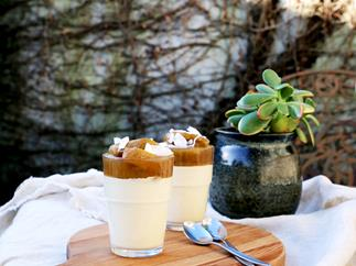 Cashew and honey 'panna cotta' with poached pears