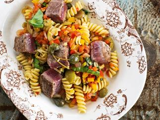 Seared Tuna, Sweet Peppers and Olive Fusilli