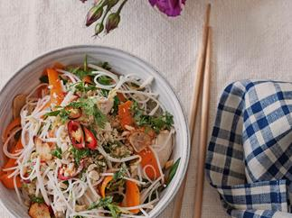 Chicken noodle salad with chilli, lime and coriander