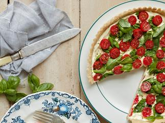 Spring Cherry Tomato, Basil and Creme Fraiche Tart with Buckwheat Crust
