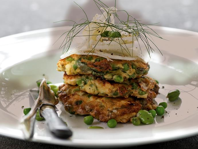 """**[Pea, broad bean, mint and feta fritters](http://www.womensweeklyfood.com.au/recipes/pea-broad-bean-mint-and-feta-fritters-21308
