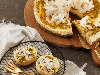 Greek Yoghurt and Passionfruit Cheesecake with Brazil Nut Base