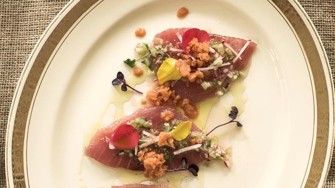 Tuna ceviche with smoked tomato granita