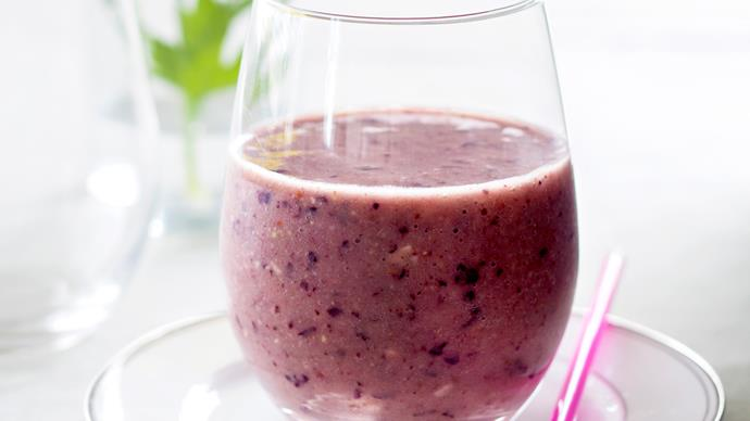 Coconut water, banana, berry & almond butter smoothie
