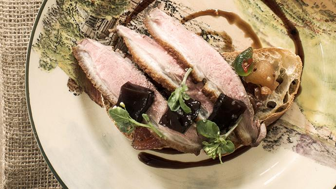Tea-smoked duck with mustard fruits and balsamic jelly