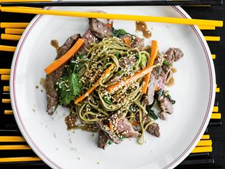 Seared Beef, Green Tea Noodles and Crunchy Veg