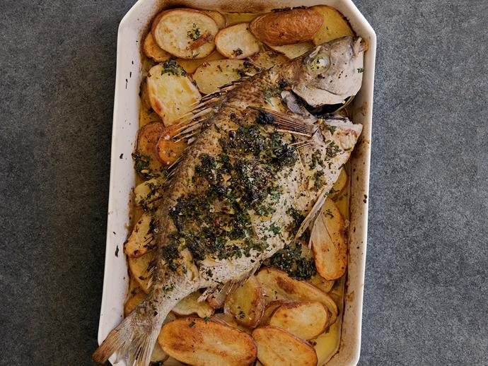 "[Roast tarakihi and potatoes with salsa verde](http://www.foodtolove.com.au/recipes/roast-tarakihi-and-potatoes-with-salsa-verde-21673|target=""_blank"")"