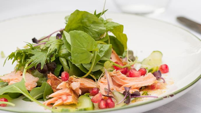 Smoked salmon salad with ginger lime dressing