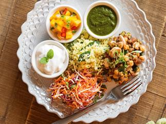 South indian-inspired sprouted thali