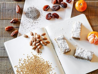 Chia, Coconut and Apricot Snow Bars