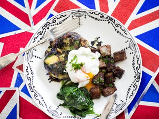 Bubble and Squeak Beef Brisket with Poached Egg