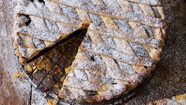 Chocolate, almond and raspberry tart