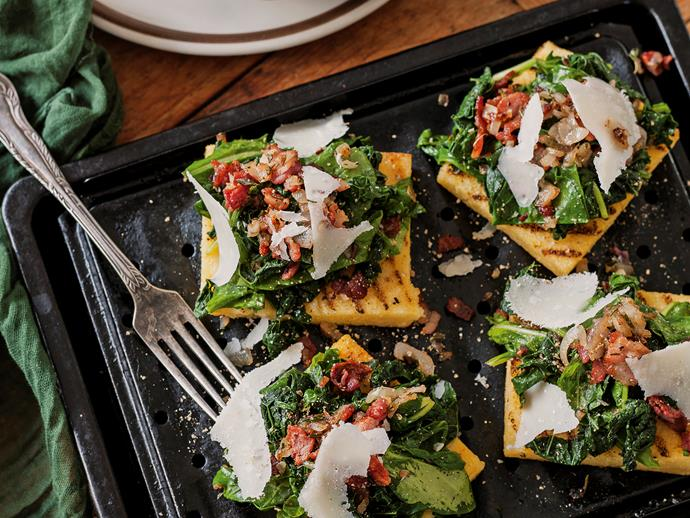 """[Grilled polenta with cavolo nero and spinach](http://www.foodtolove.com.au/recipes/grilled-polenta-with-cavolo-nero-and-spinach-15463