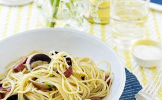 Spaghetti with chorizo and clams