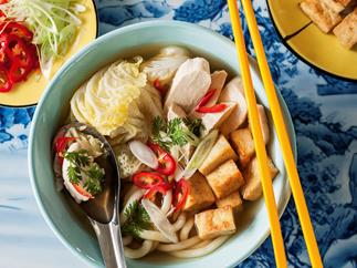Soup with Chicken, Wong Bok, Hokkien Noodles, Tofu and Chilli