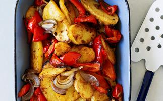 Spicy Potato, Red Onion and Capsicum Bake