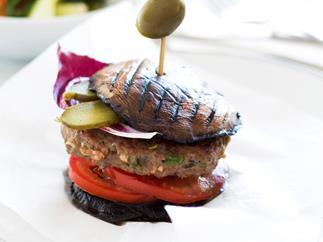Mushroom and beef burgers with steamed vegetable salad