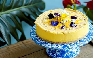 Mango and pineapple mousse cake