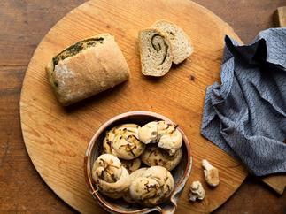 Onion Rolls and Herb Bread