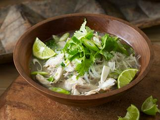 Chicken noodle soup with coriander and lime