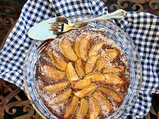Sicilian almond, apple and ricotta cake with pecans