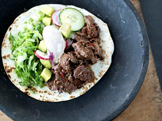 Spicy Beef Taco with Horseradish Sour Cream