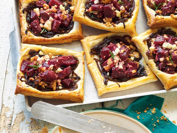 """The combination of [beetroot, creamy feta and crunchy walnuts](https://www.womensweeklyfood.com.au/recipes/beetroot-feta-and-walnut-tarts-25751